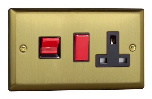 Varilight XY45PB.BB Urban Brushed Brass 45A DP Cooker Switch + 13A Switched Socket